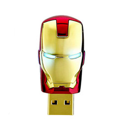 Wholesale Iron Man Flash Memory - Hot avengers iron man model USB 2.0 16GB flash drive memory stick pendrive gift
