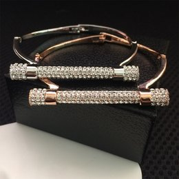 Wholesale Horseshoe Sets - 2017 new Luxury Crystal Horseshoe Cuff Bracelet Rhinestone Bangles Ladies Fashion Jewelery Stainless steel crystal bracelet Free Shipping
