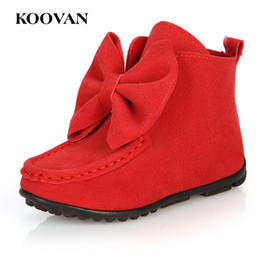 Wholesale Boots Size 21 - Kids Boots Fashion Boots Bow Tie 2017 Koovan New Autumn High Quality Flock Cloth Shoe Little Girl Shoes Big Size 21-36 K 059
