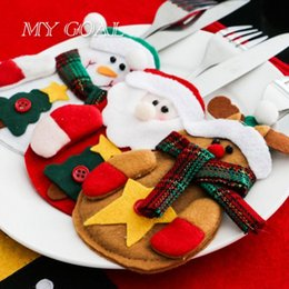 Wholesale Pocket Tree - Wholesale- 8 pcs lot Tableware Holder Christmas Decoration for Home New Year Pocket Cutlery Bag Party Christmas Gift Table Decoration