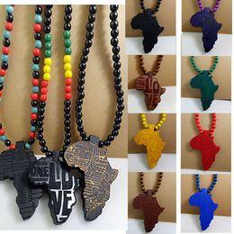 Wholesale Wholesale Wooden Goods - Africa Map Pendant Good Wood NYC Hip-Hop Wooden Fashion Necklace Wholesale Hot Sale