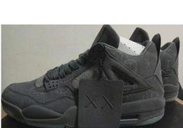 Wholesale Quality Marketing - New Arrival With Box Retro 4 Kaws Basketball Shoes Air IV Grey Color Glow Suede Shoes Best Quality In Market Size 41-47