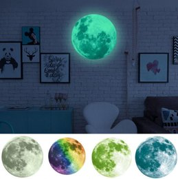 Wholesale planets wall decals - 3D Luminous Planet Wall Stickers World Moonlight In The Dark Moon Earth Wall Decals For Kids Rooms Wall Decoration sticker KKA3467