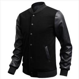 Wholesale Men Red Leather Sleeve Jacket - 2018 Autumn Slim Fit Casual Sports Baseball Jackets PU Leather Sleeve Jacket Men Bomber Jackets And Coats