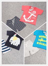 Wholesale Kids Anchor Clothing - T Shirt 2016 Baby Boys Anchor Sets Top T Shirt Stripe Pants Children Short Sleeve Boutique Outfits Kids Summer Pajamas Suits Kids Clothes