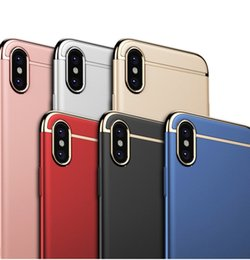 Wholesale Wholesale Cell Phone Protection - Cell Phone Case for iPhone X 8 7 3 in 1 Full Protection Electroplated PC Hard Cover Case for Samsung note8 S8 plus