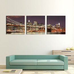 Wholesale Brooklyn Bridge Canvas - 3 Panel Wall Art Blue Brooklyn Bridge And Manhattan Skyline At Night New York City Light Painting On Canvas For Home Decor Decoration