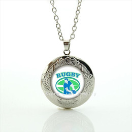 Wholesale 14k Gold Ball Necklace - Cool ball fan jewelry locket necklace sport rugby football team sporter character picture men party accessory NF038