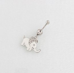 Wholesale Elephant Body Jewelry - Wholesale-Dangle Elephant belly rings navel bar fashion body piercing jewelry 14G Surgical Steel TAIERS