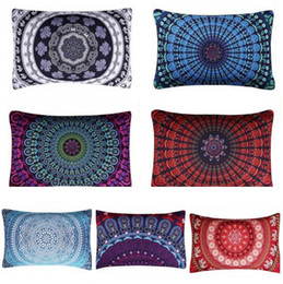 Wholesale Decorative Bohemian Pillows - Mandala Floral Pillowcase Bohemian Pillow Cover Wedding Decorative Ployester Soft High Quality Pillow Cover 50cmx30cm Christmas Gifts