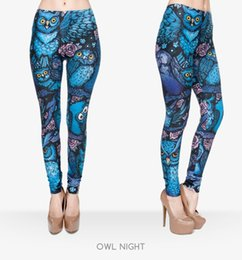 Wholesale Owls Clothes - New Hot Night Owl Full Printing Pants Women Clothing Ladies fitness Legging Stretchy Trousers Skinny Leggings