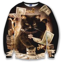 Wholesale Dollar Hoodie - Wholesale-Harajuku cartoon 3d cat dollars character sweatshirt jumper sweatshirt hoodies pullovers outerwear