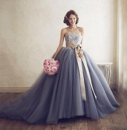 Wholesale Strapless Ruched Satin Ball Gown - Strapless Lace Top Ball Gown Wedding Dresses Floor Length Ruched Cheap Wedding Gowns with Champagne Satin Sash Gray Ruched Tulle Bridal Gown