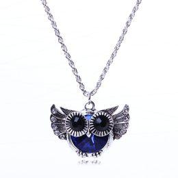 Wholesale Owl Flying - Necklaces Pendant Chain Necklace flying owl blue crystal rhinestone bead fashion pendant necklace