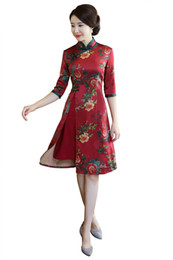 Wholesale Satin Chinese Style Dress - Shanghai Story Chinese Style Dress Vietnam aodai Chinese traditional dress 3 4 Sleeve cheongsam dress Knee Length Qipao For Women