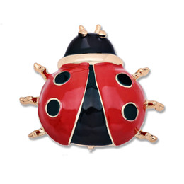 Fashion Silver Gold Plated Black Red Enamel Large Ladybug Brooch Pin Insect Bug  Brooches And Pins Insect Jewelry