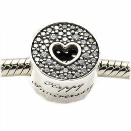 Wholesale happy making - Authentic 925 Sterling-Silver-Jewelry Micro Pave AAA CZ Heart Charms Beads For DIY Happy Anniversary Charm Bracelets Jewelry Making HB666