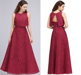 Wholesale Formal Corset Two Piece Gown - Burgundy New Designer Two Pieces Long Evening Dresses 2018 Full Lace Corset Back A Line Cheap Long Prom Gowns Vintage Formal Wear CPS706