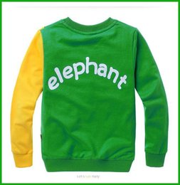 Wholesale Children Costumes Free Shipping - fashional baby boys elephant print long tops bright color long-sleeved t-shirts children costumes free shipping one piece available