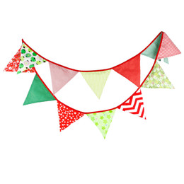 Wholesale Vintage Christmas Garlands - 3.2M of 12 Flags Cotton Fabric Banners Personality Xmas Bunting Decor Christmas Style Vintage Party Baby Shower Garland Decoration
