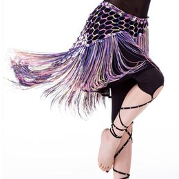 Wholesale Knitting Ruffle Scarves - Multicolored Belly Dancing Clothing Stretchy Long Tassel Knit Triangle Shawls Hand Crochet Women Belly dance Hip Scarf Belt