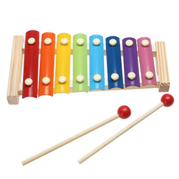 Wholesale Instruments Xylophone - Kids 8-Note Wooden Musical Toys Teaching Aid Child Early Educational Wisdom Development Music Instrument Baby Toys Gift