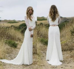 Wholesale Two Piece Simple Wedding Dresses - Vestido de Noiva Ivory Two Pieces Wedding Dresses 2018 Sheer Long Sleeves V Neck Sheath Boho Wedding Gowns Robe de Mariage BA7237