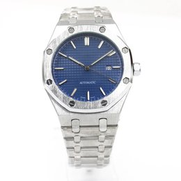 Wholesale Silver Mens Watch Blue - Top Luxury mens Brand Automatic Mechanics mens Watches blue dial Stainless Steel Band silver strap watches men free shipping