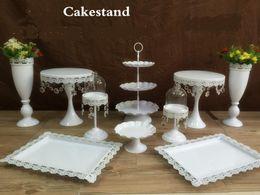 Wholesale Crystal Cake Stand Set - 2016 New hot sale snow white crystal wedding cake stand wedding table flower vase dessert table decor cake candy fruit plate 10pcs  set