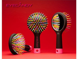 Wholesale Hair Style Korea - Detangler Hair Styling Tool Rainbow Volume Tangle Detangling Hair Brush Korea Magic Massage Brush Comb with Mirror 15*7.7cm ( Retail Pack )