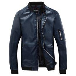 Wholesale Korean Motorcycle Leather Jacket Men - Fall-New 2016 Fashion PU Leather Motorcycle Jacket Men Korean Style Baseball Collar Jackets and Coat Male Hip Hop Bomber Coats