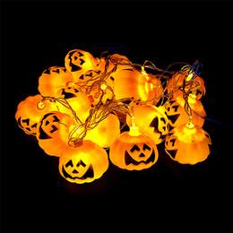 Wholesale Halloween Lantern Pumpkin Lamp Bar - Halloween Light 16 LED 2.5m Home Bar Party Decoration Pumpkin Colorful LED String Light Fairy lights Festival Lamp Skeleton lantern lamp