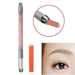 Wholesale Eye Brow Blade - Wholesale- Permanent Makeup Machine Tattoo Eyebrow Manual Microblading Pen With 10pcs U Shape Blades For Beauty Art 3D Tebori Eye Brows