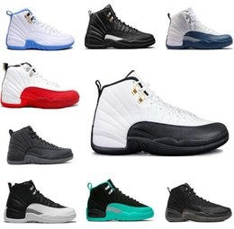 Wholesale Band Cherry - 2017 air retro 12 man basketball shoes Playoff taxi ovo white cherry red Flu game French Blue The master Barons Gym Red sneaker student