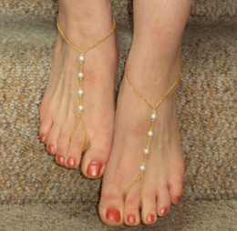 Wholesale Pearl Toe Ring - Boho Womens Anklets Faux White Pearl Beading Gold Silver Tone Ankle Bracelets W Toe Ring Barefoot Sandals