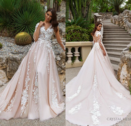 Wholesale Embroidery Long Sleeve Lace Shirt - 2018 Stunning Designer A Line Wedding Dresses Illusion Neckline Sheer Long Sleeves Full Embroidery Court Train Bridal Gowns
