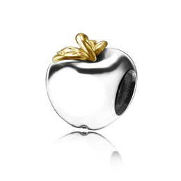 Wholesale Sterling Leaf - Wholesale Gold Leaf Apple Charm 925 Sterling Silver European Charms Floating Beads Fit Snake Chain Bracelets Fashion DIY Jewelry