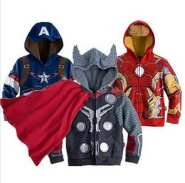 Wholesale Cheap Boys Hooded Jacket - 50pcs DHL 5 Stylys Kids Super Hero The Avengers Hoodies Cartoon Boys Sweatshirts Hotest Children Zip Jacket Cheap Hooded Clothing NAR064