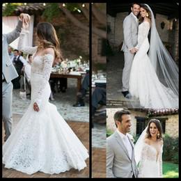 Wholesale Romantic Wedding Dresses Vintage Style - 2018 Romantic Full Lace Wedding Dresses With Long Sleeve Vintage Mermaid Wedding Gowns Country Style Bohemian Bridal Dress Plus Size