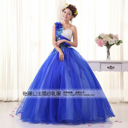 Wholesale Sing Pictures - Blue One Shoulder Lace Flower Quinceanera Dresses 2016 New Fashion The Princess Stage Singing Luxury Ball Gown Performance Dress