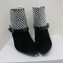 Wholesale Women Spiked Belt - 2016 Black suede simple OL All-match pointed toe Rivet ankle boots spike heels high heel Belt buckle ladies short boots