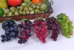 Wholesale Decorative Artificial Grapes - Artificial Fruit Grapes Plastic Fake Decorative Fruit Bunches Lifelike Home Wedding Party Garden Decor MYY