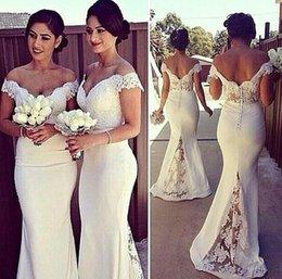 Wholesale Elegant Bridesmaid Pleat Dresses - Elegant Long Formal Dresses for Women 2016 Lace Off Shoulder Mermaid Sweep Train Corset Bridesmaid Dresses Covered Button Back Sweep Train