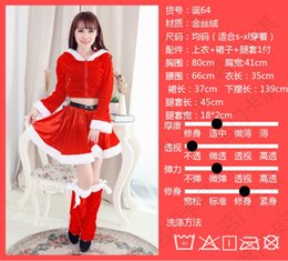 Wholesale Mrs Santa Fancy Dress - Sexy Women Christmas Fancy Dress Black White Villus Patchwork Red Hooded Mini Dress Sexy Mrs Miss Santa Claus Costume