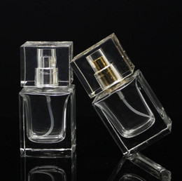 Wholesale Glass Perfume Bottles For Sale - High Qaulity 30ML Square Clear Glass Bottles Empty Perfume Spray Atomizer Bottle Used For Perfume Cosmetics Packaging Bottles For Sale
