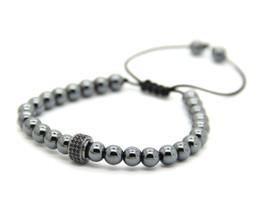 braccialetto in rame tessuto Sconti Nuovi branelli del rame di 6mm tessono il nero Micro pavimenta le sfere di fascino di CZ che intrecciano i braccialetti dei braccialetti del macrame dei monili