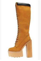 Wholesale Tall Suede Wedge Boots - Round toe genuine leather lace up knee boots yellow suede thick platform wedge tall boots python boot with chunky heel