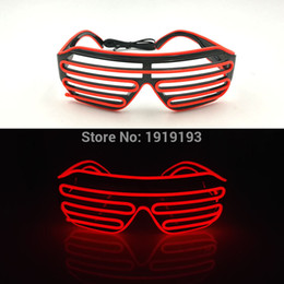 Wholesale led pattern glasses - Wholesale- New Arrival 20 Pattern Flashing EL wire colorful glass Novelty Lighting LED neon Cold light Shutter glass For Festival Decorat