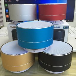 Wholesale Mp3 Modern - NEW Fashion A10 Modern Aluminum Alloy Cylinder Wireless Bluetooth Speaker With LED Light Handsfree TF Card Music Subwoofer Stereo Speakers