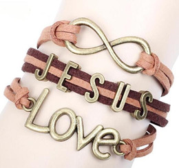 Wholesale Multi Ring Bracelet - Love Jesus Leather Bracelet rope Punk Bracelets Retro Jewelry Christian Gifts Multi Layer Braided Leather Handmade